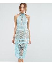 Jarlo High Neck Allover Cutwork Lace Prom Skater Midi Dress - Blue