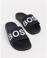 BOSS by Hugo Boss Черные Шлепанцы -черный