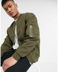 ASOS Oversized Jersey Bomber Jacket With Ma1 Pocket - Green