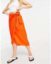 Whistles Layla - Jupe mi-longue style paréo en lin - Orange