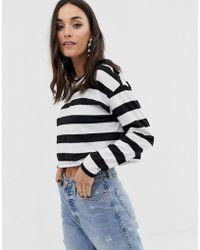 ASOS Boxy Crop Long Sleeve T-shirt In Stripe - Multicolour