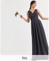 TFNC London Bridesmaid Maxi Dress With Bow Back - Grey