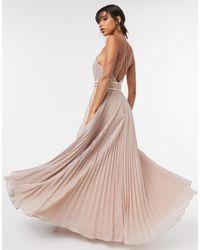 Forever Unique - Розовое Плиссированное Платье Макси С Высоким Воротом -розовый - Lyst