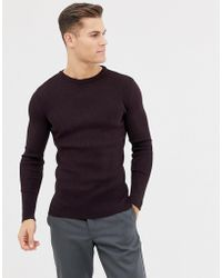 New Look - Muscle Fit Ribbed Jumper In Burgundy - Lyst