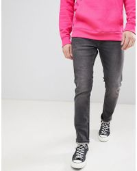 Jack & Jones - Slim Taper Jeans In Washed Black Denim - Lyst