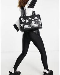 Love Moschino Tote Met Logo En Sterren - Zwart