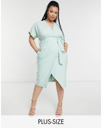 Closet London Plus Kimono Wrap Tie Midi Dress - Green
