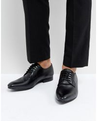 Dune | Derby Shoes In Saffiano Black Leather | Lyst