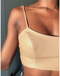 ASOS Jersey Leather Look Suit Crop Top - Multicolour