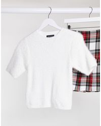 New Look T-shirt en maille duveteuse - Blanc