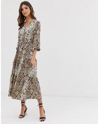 Vero Moda Midi-jurk Met Slangenprint - Zwart