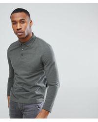 ASOS - Design Pique Long Sleeve Polo With Button Down Collar In Green - Lyst