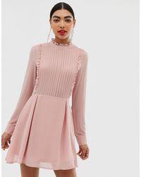 UNIQUE21 Платье Мини С Высоким Воротником И Оборками -розовый