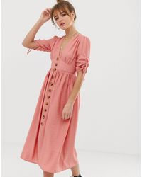 Glamorous Button Front Midi Tea Dress With Full Skirt And Ruched Sleeves - Pink