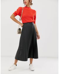 ASOS Leather Look Pleated Midi Skirt - Black