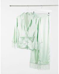 ASOS Атласная Премиум-пижама Шалфейно-зеленого Цвета С Рубашкой И Брюками С Бахромой - Зеленый