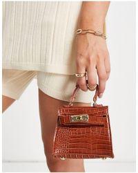 Truffle Collection Micro Mini Croc Grab Bag With Chain - Brown