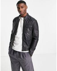 Barneys Originals Barney's Pocket Racer Leather Jacket - Black