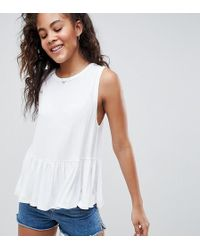 ASOS - Asos Design Tall Sleeveless Swing Top With Dropped Armhole And Pephem - Lyst