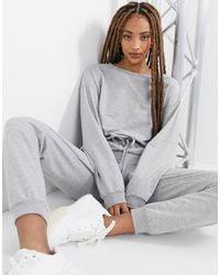 ASOS Lounge Sweat jogger Jumpsuit - Grey