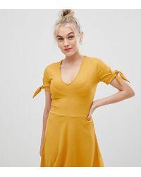 Miss Selfridge - Tie Sleeve Ribbed Jersey Dress In Yellow - Lyst