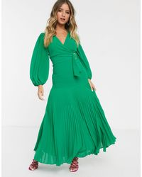 Bardot Belted Maxi Dress With Thigh Split - Green