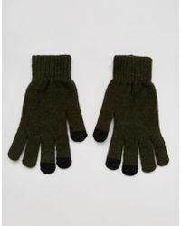 ASOS Gants pour écran tactile en laine tactile - Kaki - Vert