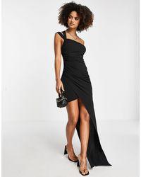 Trendyol Vestido largo con bajo asimétrico - Negro