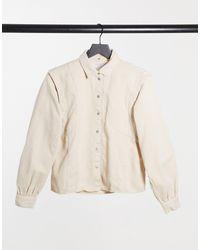 Noisy May Denim Shirt With Shoulder Detail - Natural