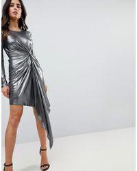ASOS - Asos Metallic Bodycon Knot Front Slinky Mini Dress - Lyst