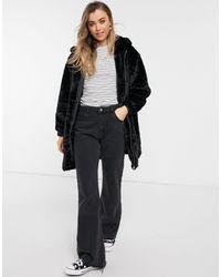 New Look - Длинная Черная Куртка С Капюшоном Из Искусственного Меха -черный - Lyst
