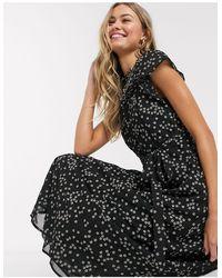 Oasis Puff Print Midi Dress - Black