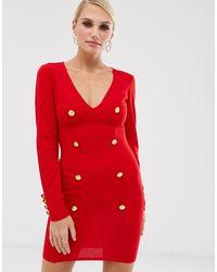 AX Paris Plunge Button Front Bodycon Dress - Red
