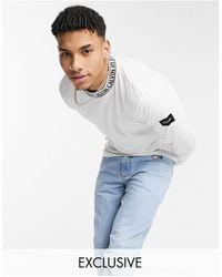 Calvin Klein Белый Лонгслив С Логотипом На Горловине – Эксклюзивно Для Asos