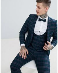 Noose And Monkey Super Skinny Suit Jacket In Tartan Check - Green