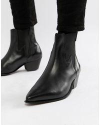 ASOS Bottines Chelsea style western à talon cubain et motif éclair - Cuir noir