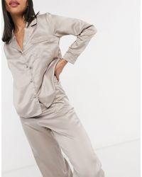 New Look - Атласный Пижамный Комплект Серовато-бежевого Цвета -розовый Цвет - Lyst