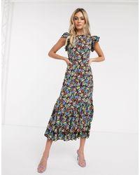 Never Fully Dressed Midaxi-jurk Met Ruche Aan - Meerkleurig