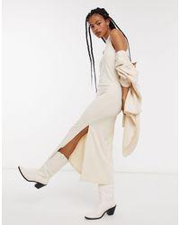 Object Платье Макси Кремового Цвета С Высоким Воротом И Разрезами По Бокам -бежевый - Естественный