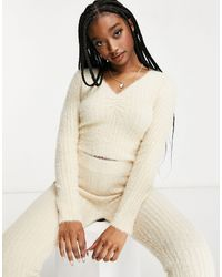Missguided Loungwear Co-ord Fluffy Ribbed Long Sleeve Top - Natural