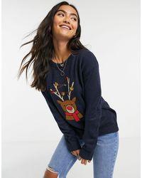 Brave Soul Reindeer Christmas Jumper - Blue