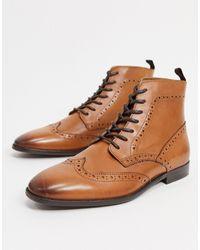 ASOS - Светло-коричневые Кожаные Ботинки-броги - Lyst