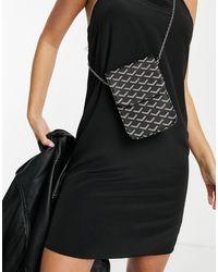 Glamorous Phone Holder Cross Body With Chain Strap - Black