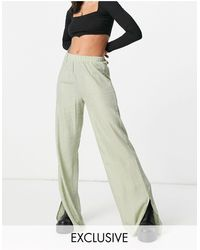 Missguided Co-ord Textured Wide Leg Trouser - Green