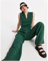 Mango Sleeveless Jumpsuit With Waist Detail - Green