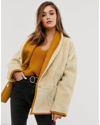 Fila Cream Buttondown Teddy Coat Urban Outfitters   2019