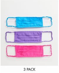 ASOS – Mund- und Nasenabdeckungen mit plissiertem Design im 3er-Pack - Mehrfarbig
