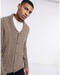 ASOS Cable Knit Shawl Cardigan - Multicolour