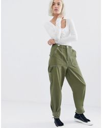 ASOS Utility Trouser With Top Stitching And Tab Detail - Green