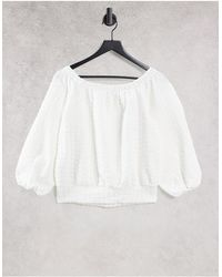 SELECTED Femme Organic Cotton Blend Off The Shoulder Top Co-ord - White